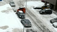 Stock Video Footage of excavator work clean winter snow block house parking lot