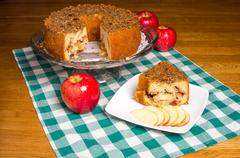 Fresh apple cake with red apples Stock Photos
