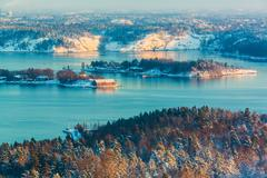 Winter Scandinavian scenery - stock photo