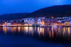 Evening panorama of Bergen, Norway Stock Photos