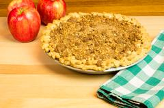 fresh crumb top apple pie - stock photo