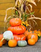 fall decorations of pumpkins - stock photo