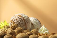 Stock Photo of Amaretto dairy ice cream and amarettini