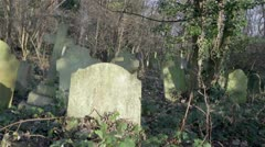 Cemetery: Vertical track looking over an old and overgrown English graveyard. Stock Footage