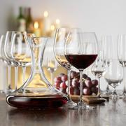 Still life with red wine in glass and decanter Stock Photos