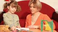 Mother and daughter drawing Stock Footage