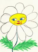 naive drawing on paper made the child - chamomile flower with face - stock illustration