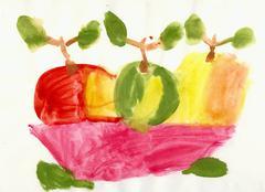 Child has drawn vase with apples - still-life Stock Illustration