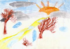 trees and the sun drawn by children hand on paper - stock illustration