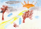 Trees and the sun drawn by children hand on paper Stock Illustration