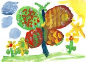 Children drawing - big butterfly and flowers Stock Illustration