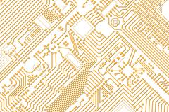 industrial electronic graphics golden - white background - stock illustration