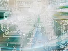rays of light shining and circuit board background - stock illustration