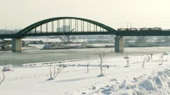 Belgrade, Sava river, winter Stock Footage