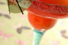 Watermelon Margarita with lime - stock photo