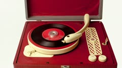 portable vintage record player - stock footage