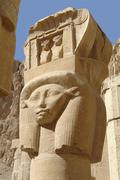 sculpture at the mortuary temple of hatshepsut - stock photo