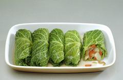 Stuffed savoy cabbage leaves with vegetable stuffing - stock photo