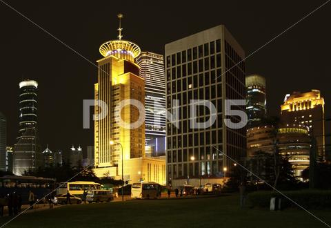 Stock photo of pudong in shanghai at night
