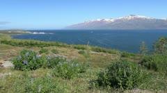Iceland Eyjafjordur & Hauganes village c Stock Footage