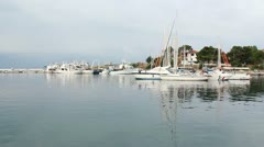 Little port with yacht Stock Footage