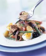 Salade niçoise with tuna and anchovies Stock Photos