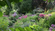 Stock Video Footage of Perennial garden with pavilion. Design: Marianne and Detlef Luedke