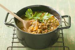 Lentil stew with carrots and parsley Stock Photos