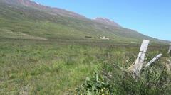Iceland Eyjafjordur Valley fence post c Stock Footage