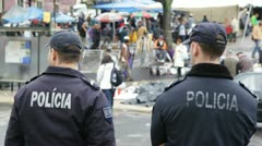 Policemen in Portugal Stock Footage