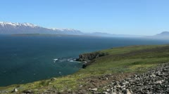 Iceland Eyjafjordur cliffs and waves c Stock Footage