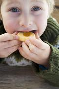 Small boy biting into a jam biscuit Stock Photos