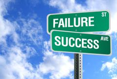Success and failure sign with clouds Stock Photos