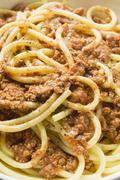 Stock Photo of Macaroni with mince sauce (detail)