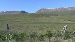 Iceland Eyjafordur Valley with fence posts c Stock Footage