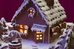 Gingerbread house with atmosphere lighting Stock Photos