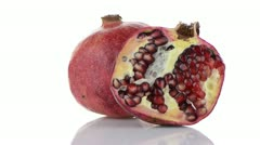 Half pomegranate fruit - stock footage