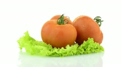 Tomatoes and lettuce - stock footage