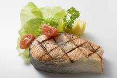 Grilled salmon cutlet Stock Photos