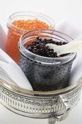 Black caviar and Keta caviar in jars Stock Photos