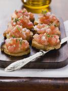 Bruschetta (toasted bread with tomatoes and garlic, Italy) Stock Photos