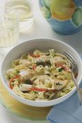 Stock Photo of Ribbon pasta with fish and capers