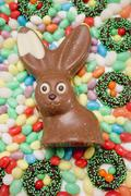 Easter sweets (overhead view) - stock photo