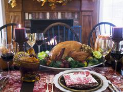 Stuffed turkey on Thanksgiving table (USA) - stock photo