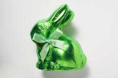Chocolate bunny in green foil Stock Photos