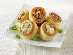 Puff pastry cases with various fillings Stock Photos