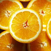 Orange halves (overhead view) - stock photo