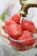 Washing strawberries - stock photo