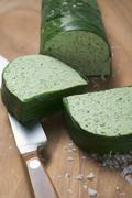 Stock Photo of Ramsons (wild garlic) terrine, partly sliced