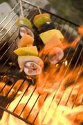 Fruit kebabs on barbecue grill rack Stock Photos